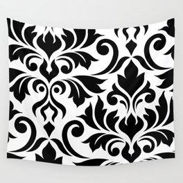 Flourish Damask Art I Black on White Wall Tapestry