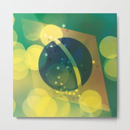 FLAG - BRAZIL LIGHT Metal Print