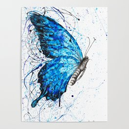 Blue Butterfly Rains Poster