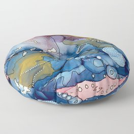 Reef of Rose and Prussian Floor Pillow