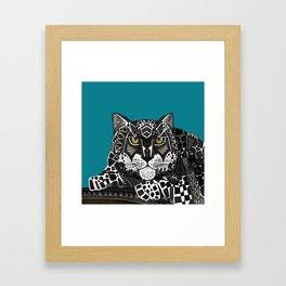 snow leopard teal Framed Art Print