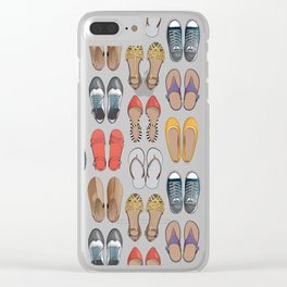 Hard choice // shoes on yellow background Clear iPhone Case