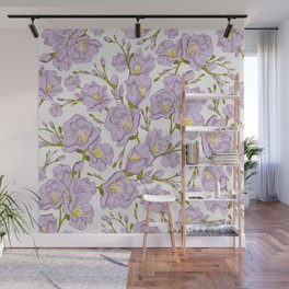 Lilac Freesia. Flowers pattern Wall Mural