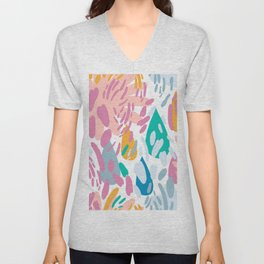 Abstract girly pink teal coral modern brushstrokes Unisex V-Neck