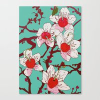 cherry blossoms Canvas Prints featuring Cherry Blossoms by minniemorrisart