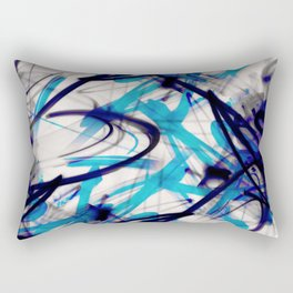 All Over Abstract Pollock Style Aqua and Blue Rectangular Pillow