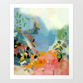 garden with sea view and olive tree Art Print