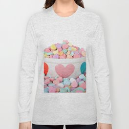 Bowl of Valentine's Day Candy Hearts Long Sleeve T-shirt