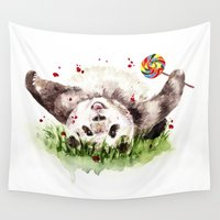 panda Wall Tapestries featuring Panda by Anna Shell