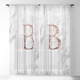 Monogram rose gold marble B Sheer Curtain