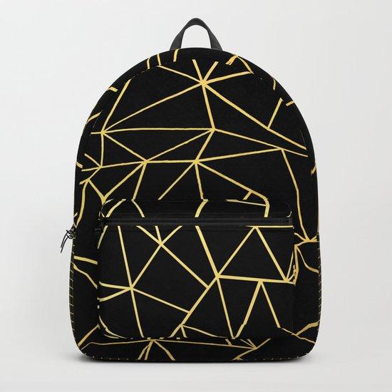 Ab Outline Grid Black and Gold Backpack