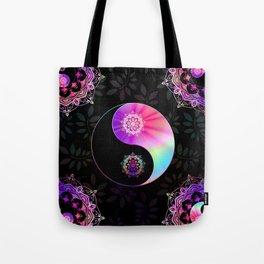 'Divine Balance' Yin Yang Black Pink Purple Blue Tote Bag