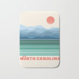 North Carolina - retro travel poster 70s style throwback minimalist usa state art Bath Mat