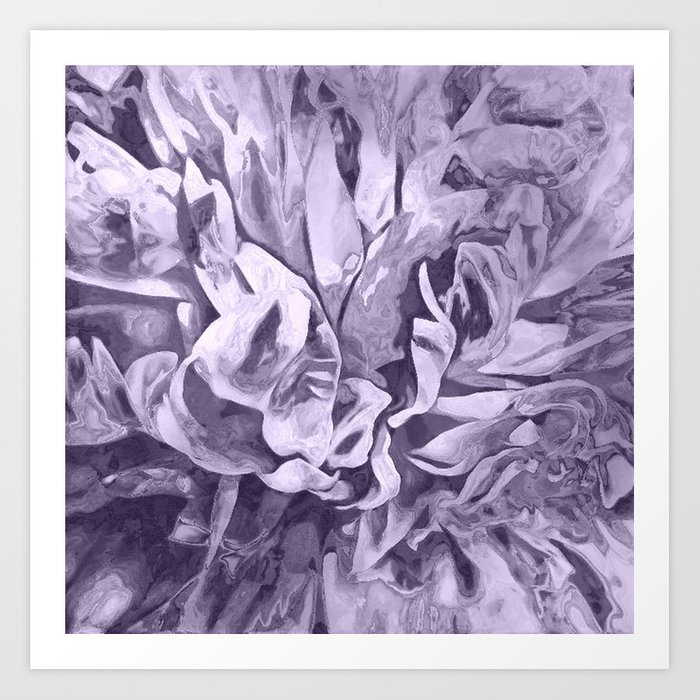 Painted Peony Sepia Lavender Art Print