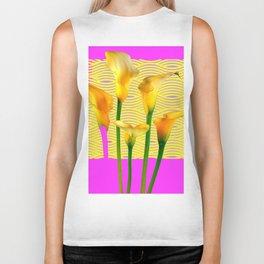 Fuchsia & Gold Calla Lily Abstract Biker Tank