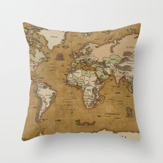 World Treasure Map Throw Pillow
