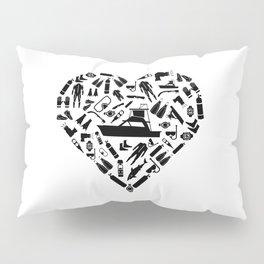 I Love Scuba Diving   Divers Heart Sea Snorkeling Pillow Sham
