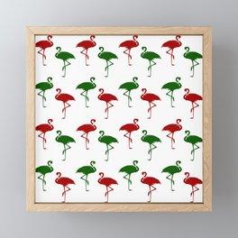 Flamingos Christmas Pattern Red Green Framed Mini Art Print