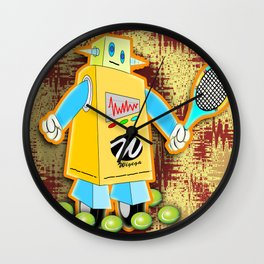 Tennis Robot with Racquet Wall Clock
