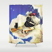 kiki Shower Curtains featuring kiki and Jiji   by grapeloverarts