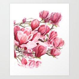 Watercolor Magnolia flowers Art Print
