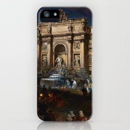 La Fontana di Trevi (Fountain of Trevi) at Moonlight by Oswald Achenbach iPhone Case