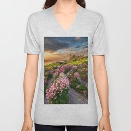 Scottish Castle ruin at Sunset Unisex V-Neck