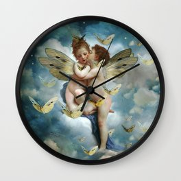 """Angels in love in heaven with butterflies"" Wall Clock"