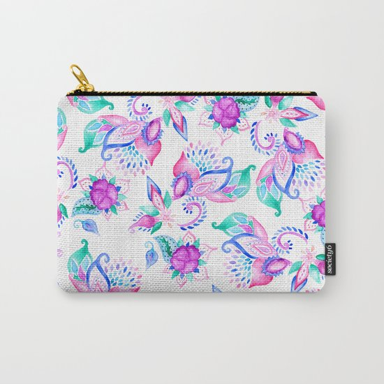 Modern pink turquoise hand painted floral paisley pattern illustration  Carry-All Pouch