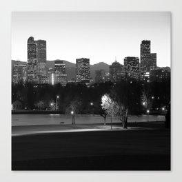 Denver Skyline Square Format - Black and White Canvas Print