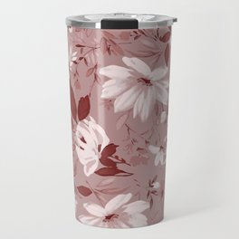 Floral Pink Roses and Flowers Travel Mug