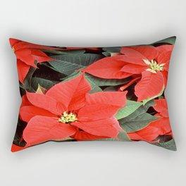 Beautiful Red Poinsettia Christmas Flowers Rectangular Pillow