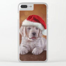 Drawing puppy breed Golden Retriever in red hat of Santa Claus Clear iPhone Case