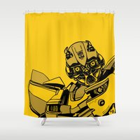 transformers Shower Curtains featuring Transformers: Bumblebee by Skullmuffins