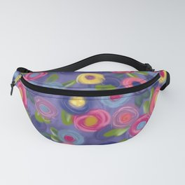 Rose Garden painting roses leaves purple pink blue yellow green Fanny Pack