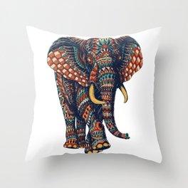 Ornate Elephant v2 (Color Version) Throw Pillow