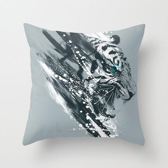 white tigra Throw Pillow