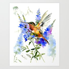 Alen's Hummingbird and Blue Flowers, floral bird design birds, watercolor floral bird art Art Print