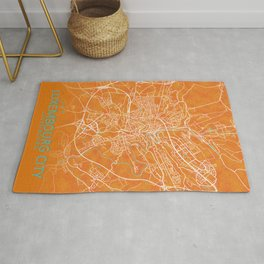 Luxembourg City, Luxembourg, Gold, Blue, City, Map Rug