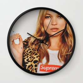 Old Kate Moss smoking digitally manipulated photo Wall Clock