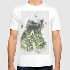 Cat in the Garden of Your Mind White Mens Fitted Tee MEDIUM