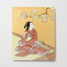 Woman & Cherry Blossoms #2 Metal Print