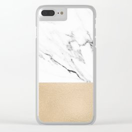 White Marble with Black and Copper Bronze Clear iPhone Case