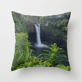 Rainbow Falls in Hawaii Throw Pillow