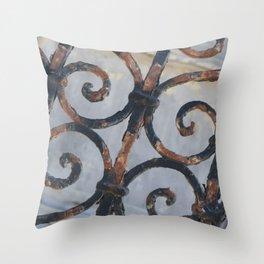 Rusty Metal Grid Gate pattern Illustration Throw Pillow