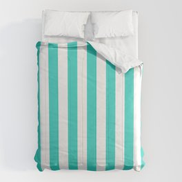 Narrow Vertical Stripes - White and Turquoise Comforters