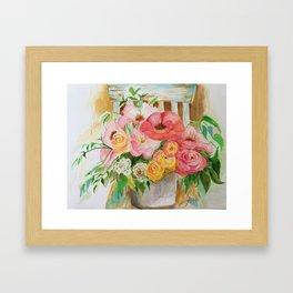 Flowers on a Chippy Chair Framed Art Print