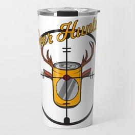 Beer can hunter crosshair drink alcohol deer antler humor joke gift Travel Mug