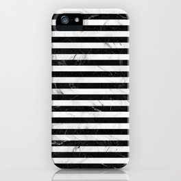Marble Stripes Pattern - Black and White iPhone Case