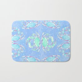 Watercolor blue crab Bath Mat